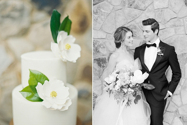 Wedding Cake with Magnolia Blooms | Bride and Groom | Classic Wedding Inspiration By Rachel May Photography