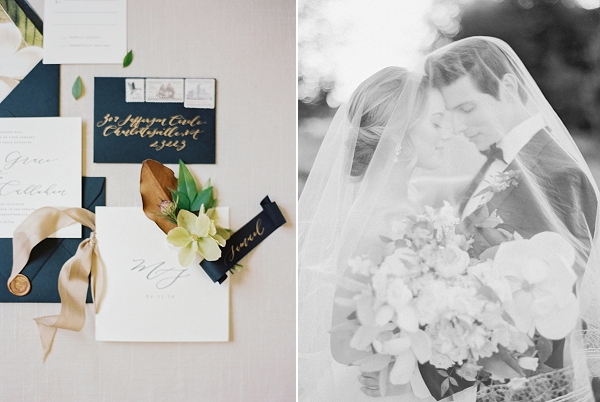 Wedding Invitation Suite and Bride and Groom | Classic Wedding Inspiration By Rachel May Photography