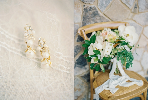 Sparkly Bridal Earrings and Magnolia Bouquet | Classic Wedding Inspiration By Rachel May Photography