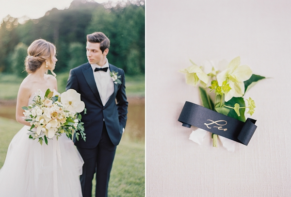 Bride and Groom | Boutonniere with Calligraphy Tag | Classic Wedding Inspiration by Rachel May Photography