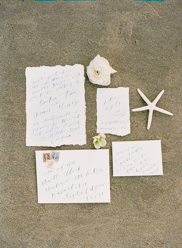 Beach Wedding Invitation Suite with Calligraphy   Romantic Beach Bridal Inspiration By Koman Photography