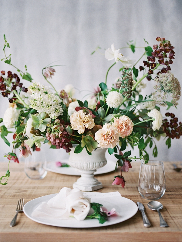 Floral Centerpiece   Romantic Watercolor Wedding Inspiration By Callie Hobbs Photography