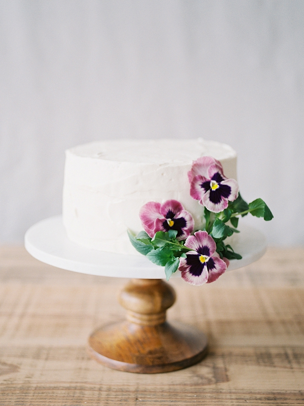 Simple One Tier Wedding Cake   Romantic Watercolor Wedding Inspiration By Callie Hobbs Photography