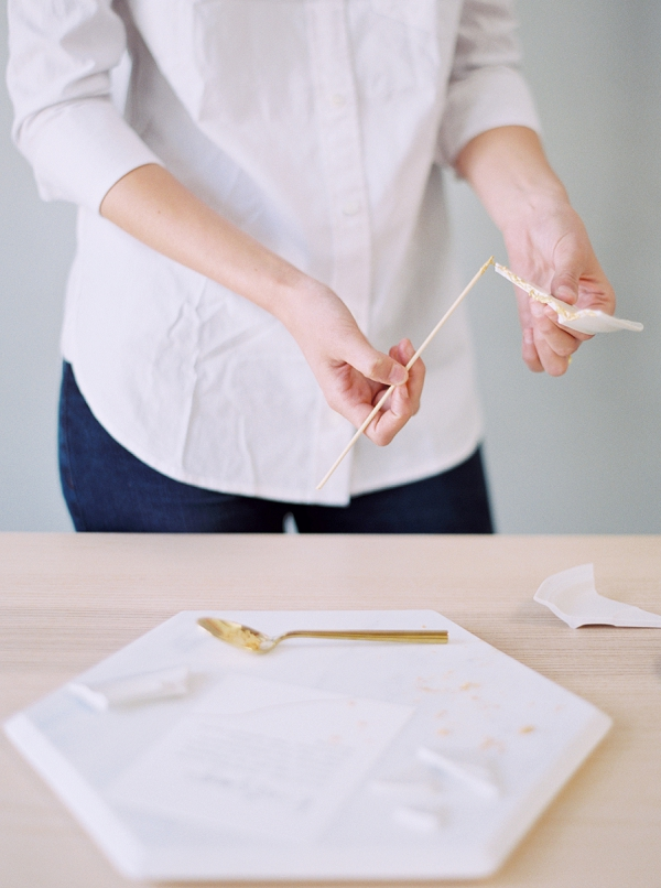 Kintsugi, the Japanese art of rejoining broken ceramic pieces with gold lacquer | Modern Minimalist Wedding Inspiration By Amanda Wei Photography