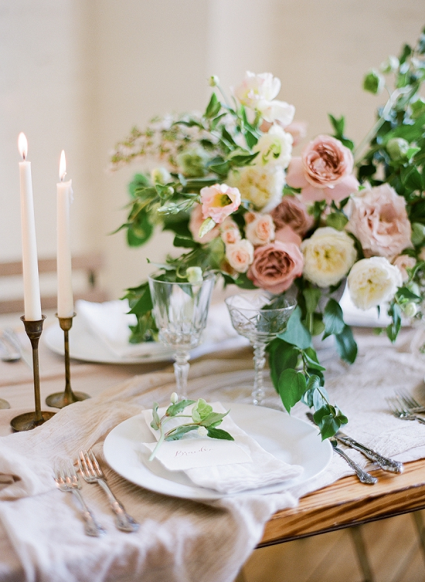 Elegant Tablescape | Romantic Industrial Wedding Inspiration | Haystack Film Community | Grit + Gold