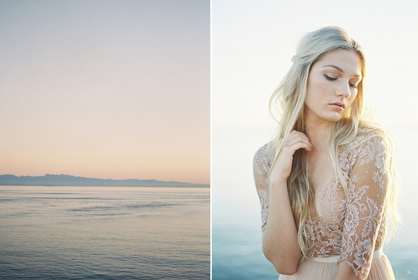 Lace Bridal Gown | Coastal Sunset Bridal Inspiration by Heather Payne Photography