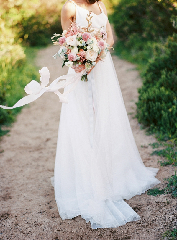 Pink and White Textured Bouquet with Ribbons | Serene Coastal Bridal Inspiration by Ashton Jean-Pierre Photography