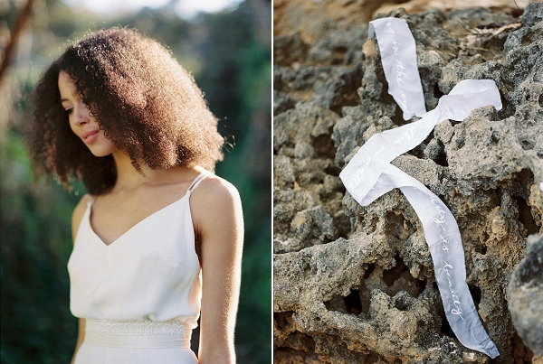 Delicate Calligraphy on Ribbons | Serene Coastal Bridal Inspiration by Ashton Jean-Pierre Photography