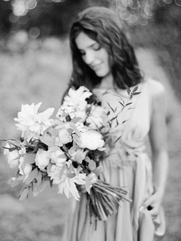 Black and White Bridal Portrait on Film | Blush Garden Wedding Inspiration by Matoli Keely Photography