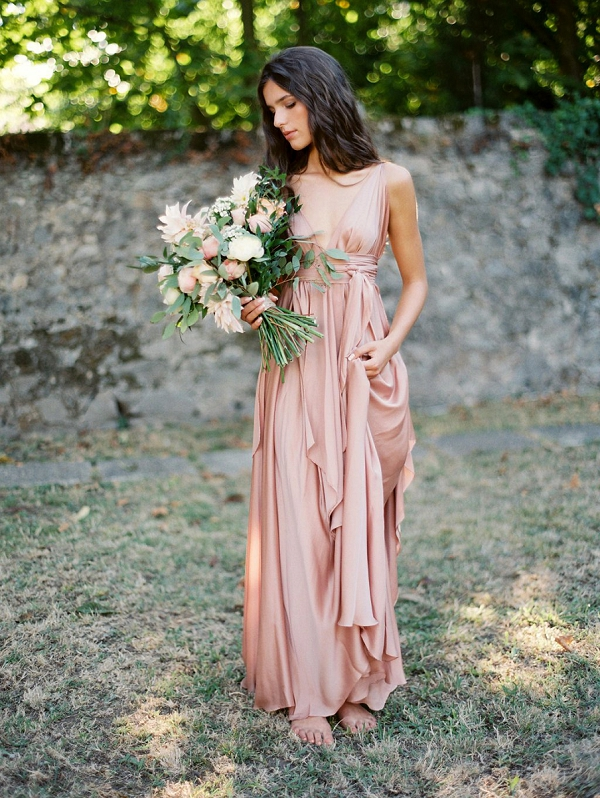 Bride in Romantic Blush Pink and With A Lush Bouquet | Blush Garden Wedding Inspiration by Matoli Keely Photography