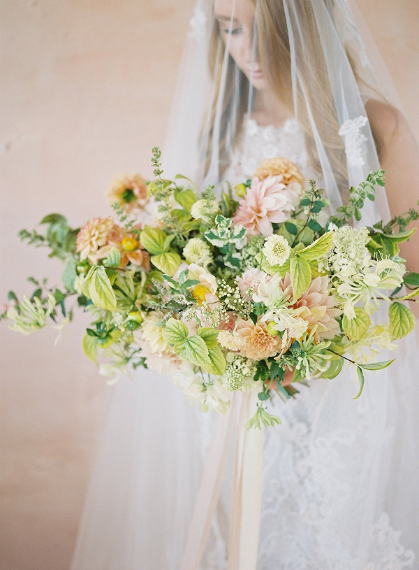 Textured Bouquet Inspiration | Blushing Peach Bridal Inspiration By Heather Payne Photography