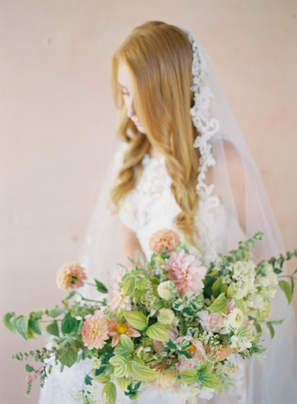 Bride with Peach Bouquet | Blushing Peach Bridal Inspiration By Heather Payne Photography