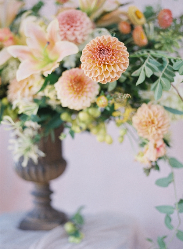 Dahlias and Lilies in a Gorgeous Floral Arrangement | Blushing Peach Bridal Inspiration By Heather Payne Photography