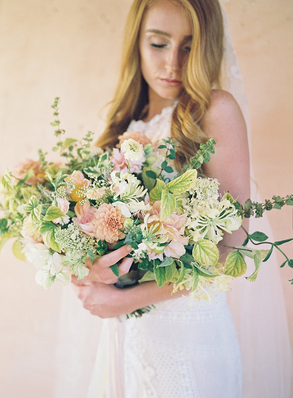 Large Textured Bouquet | Blushing Peach Bridal Inspiration By Heather Payne Photography