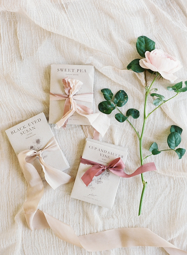 Ribbon Tied Books | Blushing Peach Bridal Inspiration By Heather Payne Photography