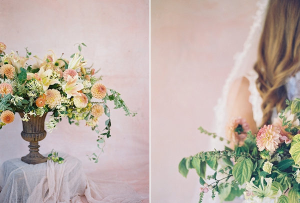 Lush Floral Centerpiece | Blushing Peach Bridal Inspiration By Heather Payne Photography