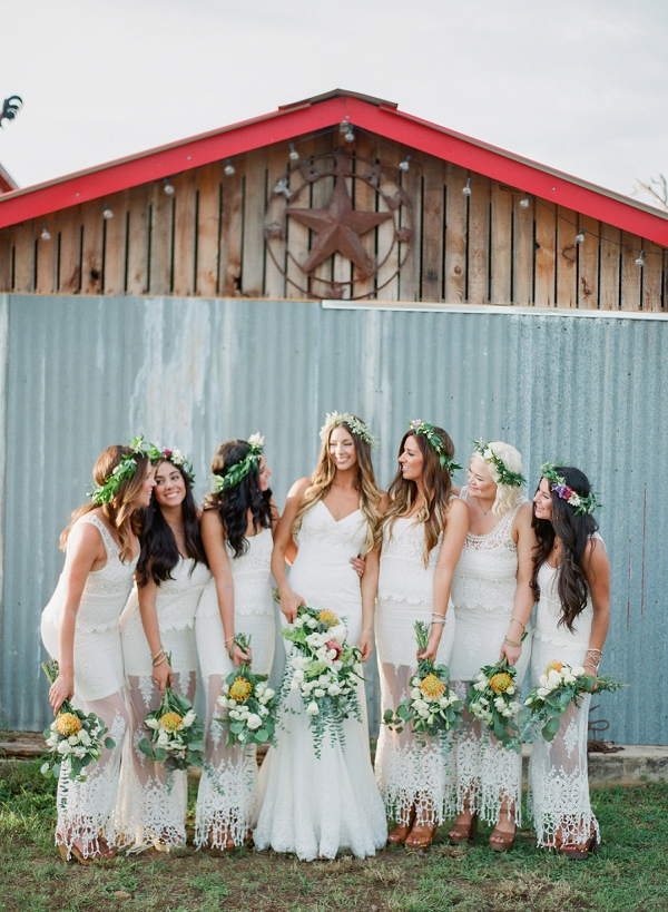 Boho Chic Bride and Bridesmaids in White | Bohemian Ranch Wedding By Alyssa Nikole Photography