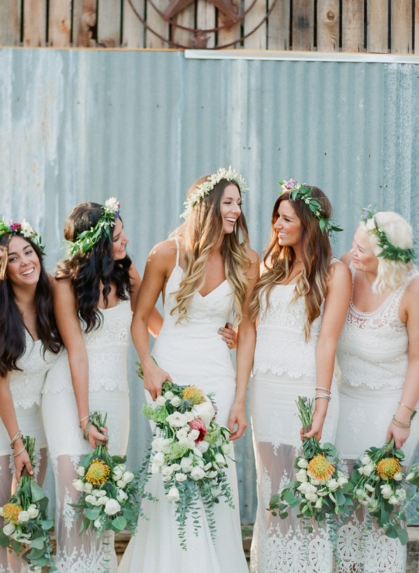 Bride and Bridesmaids | Bohemian Ranch Wedding By Alyssa Nikole Photography
