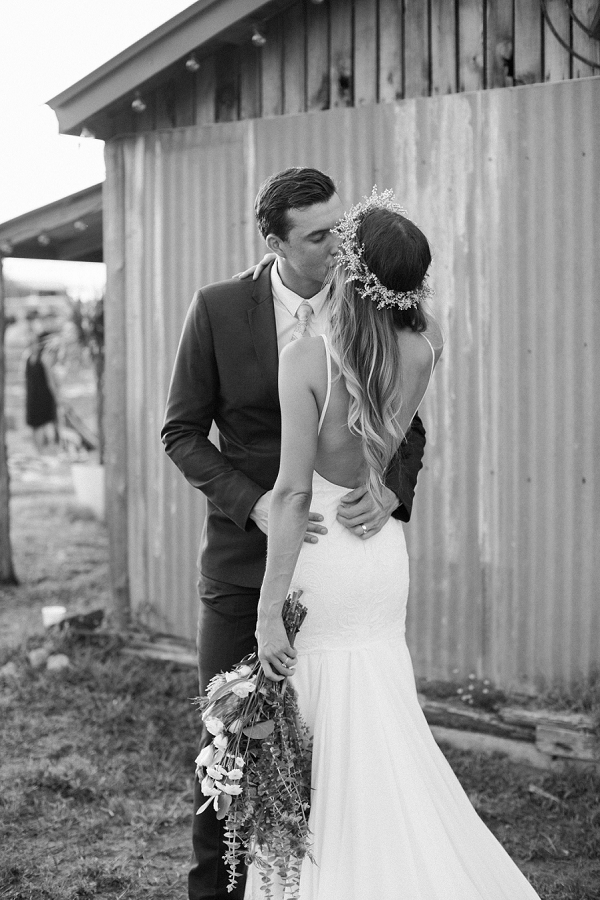 Bride and Groom Portrait in Black and White | Bohemian Ranch Wedding By Alyssa Nikole Photography