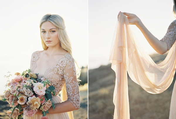 Emily Riggs Wedding Gown | Coastal Sunset Bridal Inspiration by Heather Payne Photography
