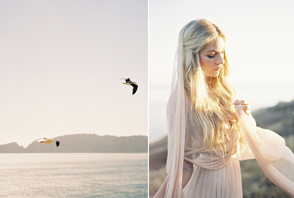 Bride in Blush Pink | Coastal Sunset Bridal Inspiration by Heather Payne Photography