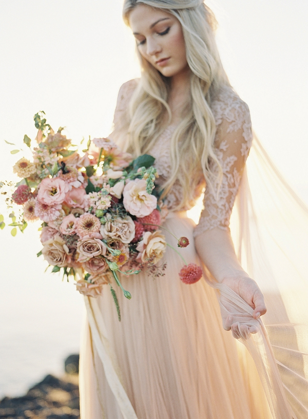 Ethereal Emily Riggs Wedding Dress Paired With Lush Bouquet | Coastal Sunset Bridal Inspiration by Heather Payne Photography