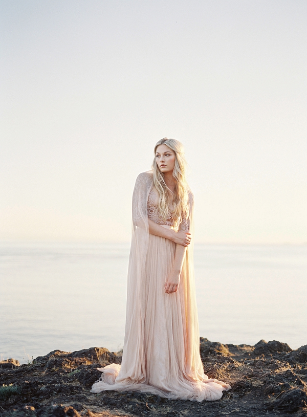 Sunset Bridal Portrait | Coastal Sunset Bridal Inspiration by Heather Payne Photography