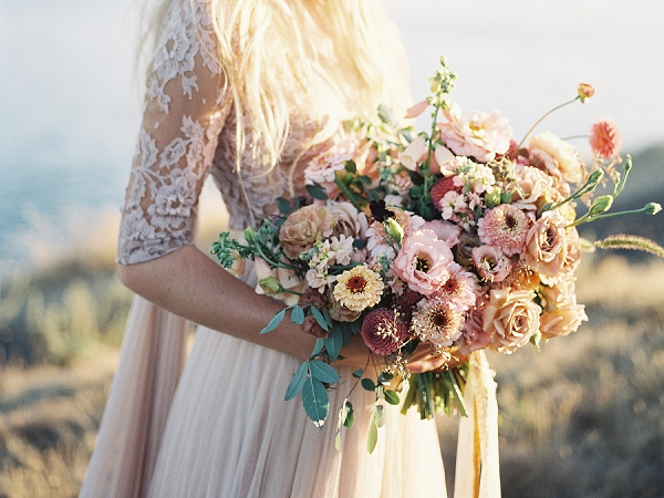 Lush Bouquet | Coastal Sunset Bridal Inspiration by Heather Payne Photography
