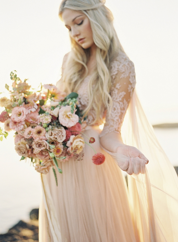Enchanting Wedding Dress and Bouquet | Coastal Sunset Bridal Inspiration by Heather Payne Photography