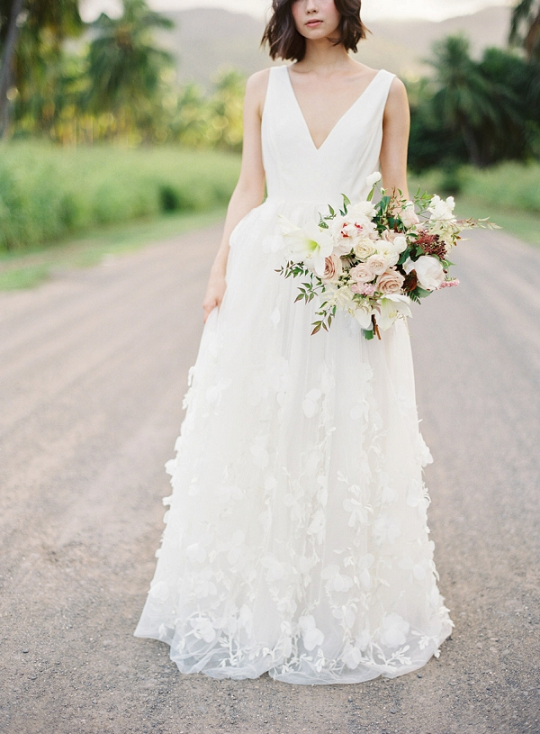 Textured Wedding Dress and Florals | Hawaii Wedding Ideas with Old World Charm from Christine Clark Photography