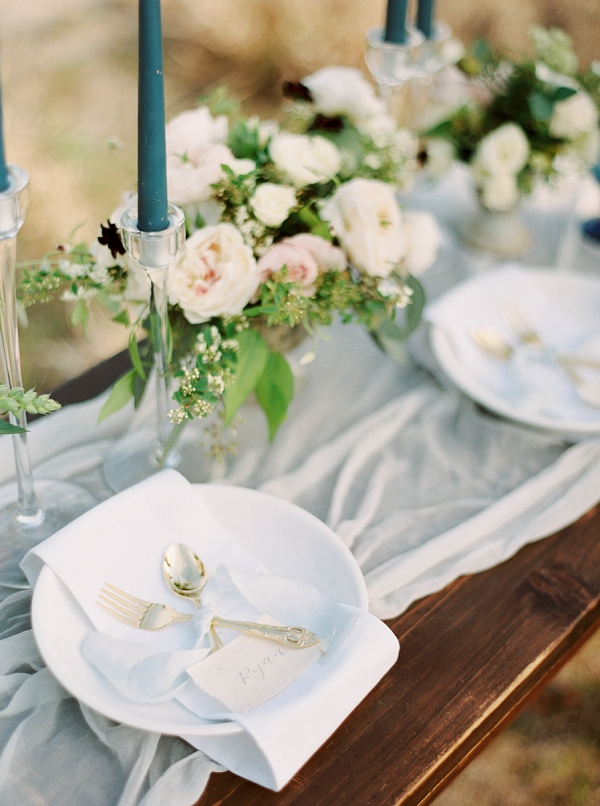 Romantic Tablescape with Candles and Low Floral Centerpieces | Intimate Seaside Wedding Inspiration by Shannon Moffit Photography