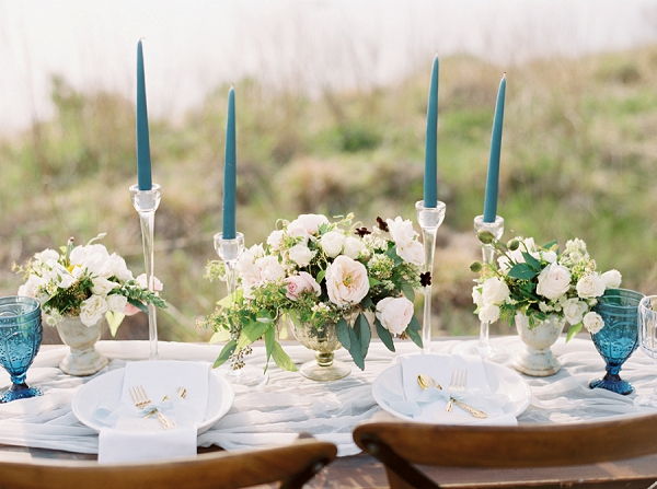 Elegant Beach Wedding Tablescape | Intimate Seaside Wedding Inspiration by Shannon Moffit Photography