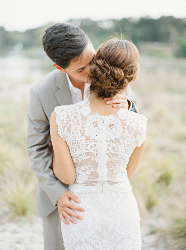 Stunning Back Details on a Claire Pettibone Wedding Dress | Intimate Seaside Wedding Inspiration by Shannon Moffit Photography