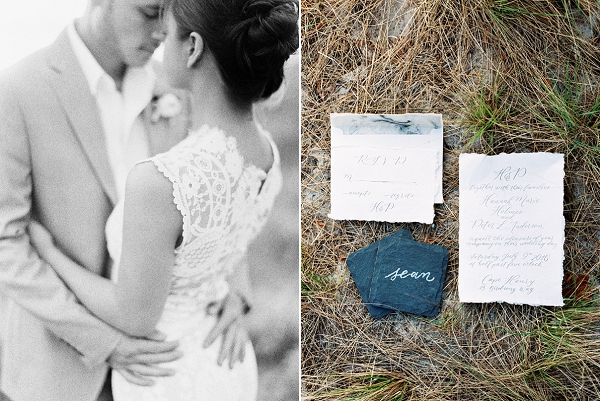 Blue and White Wedding Invitation Suite | Intimate Seaside Wedding Inspiration by Shannon Moffit Photography
