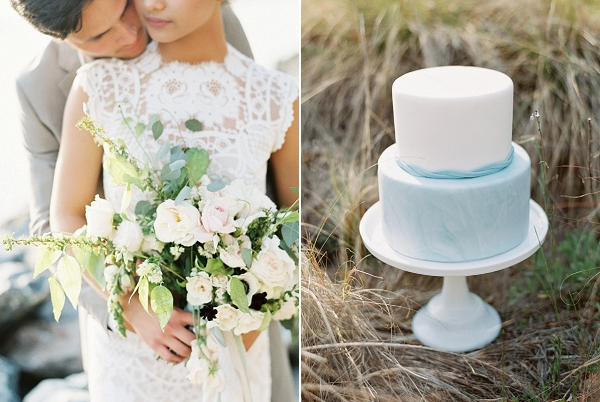 Blue and White Wedding Cake | Intimate Seaside Wedding Inspiration by Shannon Moffit Photography