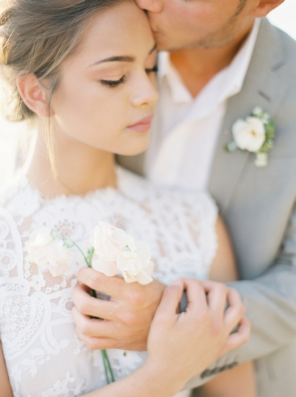 A Tender Kiss From The Groom | Intimate Seaside Wedding Inspiration by Shannon Moffit Photography