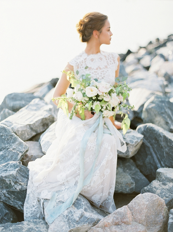 Seaside Bride with Gorgeous Bouquet | Intimate Seaside Wedding Inspiration by Shannon Moffit Photography