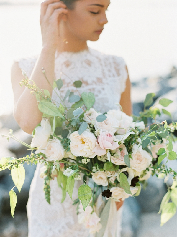 Organic Wedding Bouquet | Intimate Seaside Wedding Inspiration by Shannon Moffit Photography