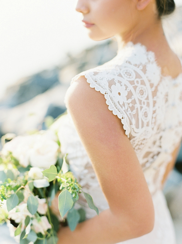 Intricate Detailing on the Bride's Wedding Dress | Intimate Seaside Wedding Inspiration by Shannon Moffit Photography
