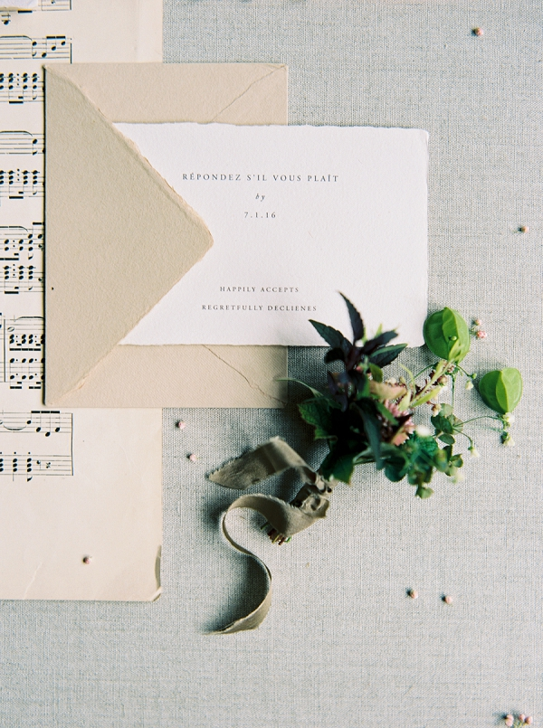 Modern Wedding Invitation and Boutonniere | Elegant and Romantic Estate Wedding Inspiration by Andrew & Tianna Photography