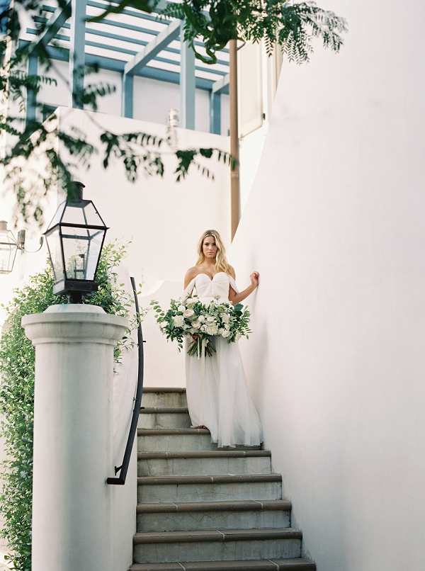 Bridal Portrait on Staircase | Romantic Vow Renewal Wedding Inspiration in Florida from Simply Sarah Photography