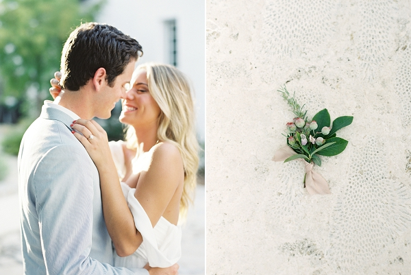 Earthy Green Boutonniere | Romantic Vow Renewal Wedding Inspiration in Florida from Simply Sarah Photography