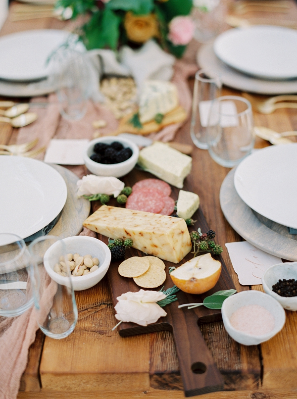 Fruit and Cheese Platter | Wedding Inspiration With A Fresh Romantic Palette by Jessica Gold Photography