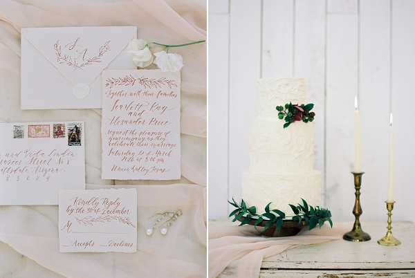 Wedding Cake and Invitation Suite | Wedding Inspiration With A Fresh Romantic Palette by Jessica Gold Photography