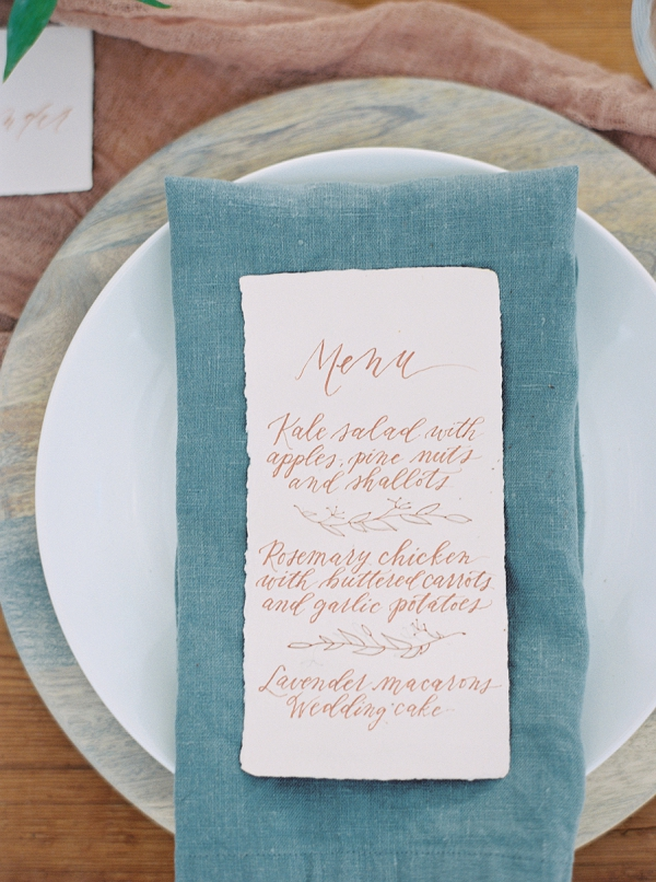 Calligraphy Menu | Wedding Inspiration With A Fresh Romantic Palette by Jessica Gold Photography