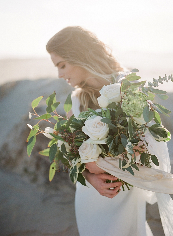 Rose Bouquet | Windswept By the Sea Editorial By Koby Brown Photography