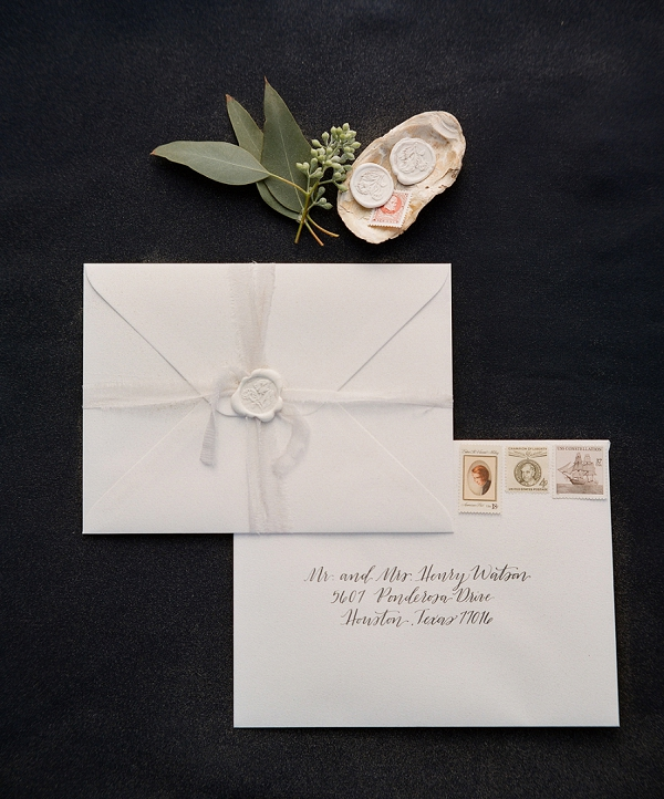 Wedding Invitations with Calligraphy | Windswept By the Sea Editorial By Koby Brown Photography