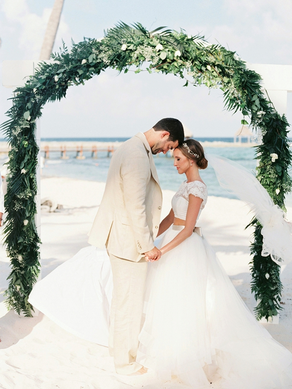 Beach Wedding Arch and Ceremony | A Beach Chic Wedding in Tulum by Michelle Boyd Photography