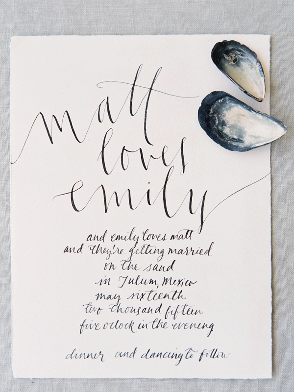 Modern Calligraphy Invitations | A Beach Chic Wedding in Tulum by Michelle Boyd Photography
