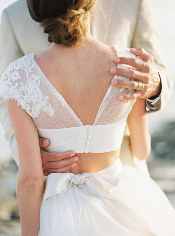 Bride's Two Piece Wedding Ensemble from Enzoani | A Beach Chic Wedding in Tulum by Michelle Boyd Photography